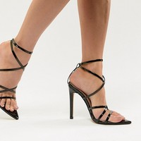 Public Desire Sultry black patent strappy sandals at asos.com