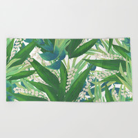 Tropical Leaves Pattern Beach Towel by Smyrna