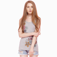 Grey Floral Print Sleeveless Top