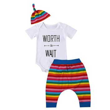 New Baby Boy Girl Rainbow 3PCS Clothing Set Infant Outfit Letter Printed Romper+ rainbow Long Pants+Hat Clothes Set