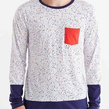 Speckled Raglan-Sleeve Pocket Tee-