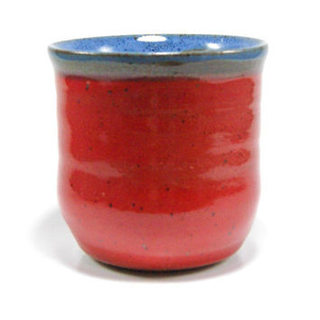 Cherry red and blue ceramic tumbler - Handleless pottery mug - wheel thrown cup - stoneware tumbler - red juice glass - ceramic cup