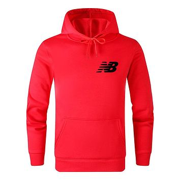 New Balance New fashion bust side letter print hooded long sleeve sweater top Red