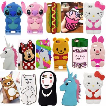 3D Cartoon Soft Silicone Mobile Back Cover Skin Shell For Apple iPhone 5 5S 5C SE 6 6S 6 Plus 6S 7 Plus Phone Cases Fundas Coque