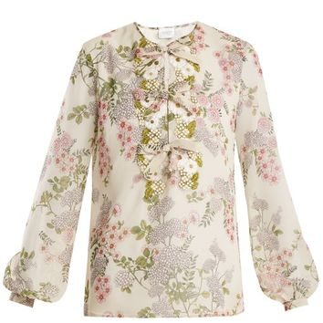 Ivy-print floral-embroidered silk-georgette blouse | Giambattista Valli | MATCHESFASHION.COM UK