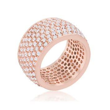 [R]-Wide Pave Cubic Zirconia Silvertone Band Ring- Rosegold