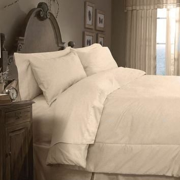 Veratex Home Indoor Bedroom Supreme Sateen 300 Solid Comforter Set Queen Taupe