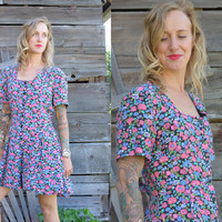 Vintage 90's 90210 Bright Summer Floral Hot Pastel Romper Jumper Dress