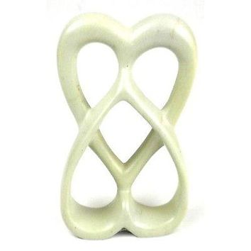 Handcrafted 8-in Soapstone Connected Hearts Sculpture White