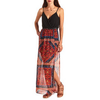SCARF PRINT SURPLICE BELTED MAXI DRESS