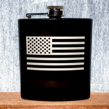 Black Flask with American Flag, Hand Etched, Gloss Black 6 oz