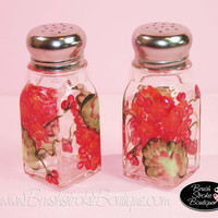 Hand Painted Salt & Pepper Shakers - Geraniums - Original Designs by Cathy Kraemer