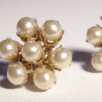 Vintage Earrings Coro Faux Pearl Cluster with Screw Back Closure Classic Vintage Jewelry Mid Century Earrings Signed Coro Costume Jewelry