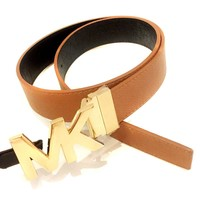 Michael Kors Womens Reversible Tan/Brown Luggage Belt Gold MK Logo Buckle