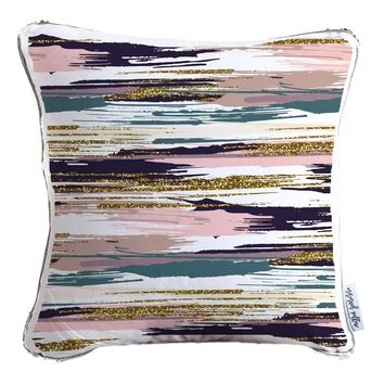 Hand Painted Gold Glitter Pattern Decorative Throw Pillow w/ Silver & White Reversible Sequins