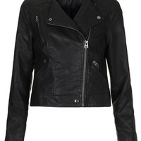 Collarless Biker Jacket - Black