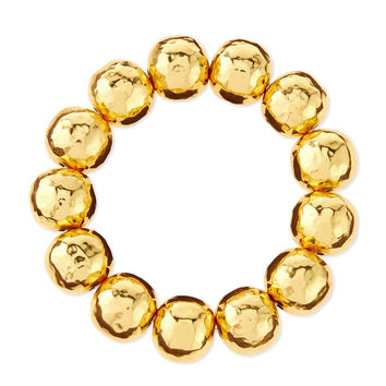 Hammered Gold-Plated Bead Bracelet - NEST Jewelry