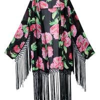 Black Floral Long Sleeve Chiffon Kimono With Tassels
