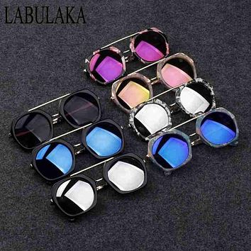 LABULAKA 2017 New Fashion Korean Children Sunglasses Metal Kids Eyewear Big Frame Cute Boys Girls Sun glasses Baby Goggles