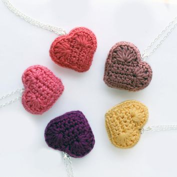 Heart Necklace, Plush Crocheted Heart Pendant, Rainbow Summer Colours,kawaii, Cute Jewelry | Luulla