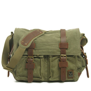 Army Green Canvas Leather Camera Bag Leisure Shoulder Bag Messenger Bag DSLR Camera Bag 2138DL