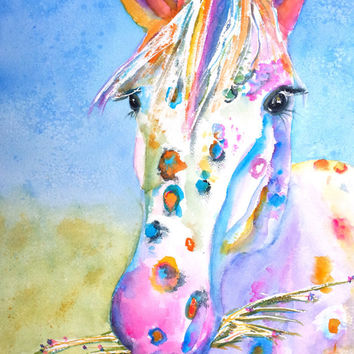 Original Watercolor Horse Painting, Appaloosa, 12x16,Colorful, Rainbow,Horses theme, Nursery, Children's room, Girls room decor