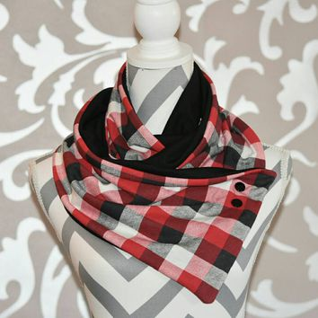 Red and Black Buffalo Plaid Side Snap Scarf Buffalo Plaid Spring Accessory Scarf