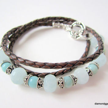 Aquamarine Amazonite Bracelet Bali Silver 3mm Brown Braided Bolo Women's Leather Wrap Sterling Silver End Caps Toggle Handmade Fine Jewelry