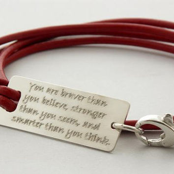 You are braver than you believe... sterling silver inspirational quote leather bracelet