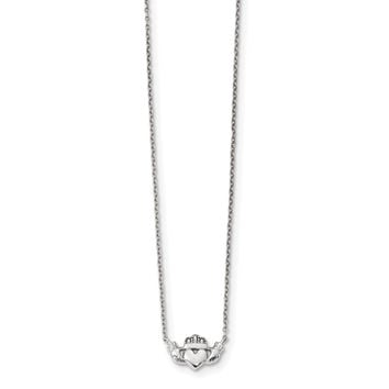 14k White Gold Polished Claddagh Necklace SF2531