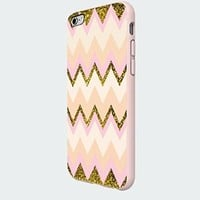 Gold Pink Chevron Galaxy Custom Case for Iphone 5/5s/6/6 Plus (White iPhone 6 plus)