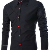 Checked Design Stand Collar Long Sleeve Shirt