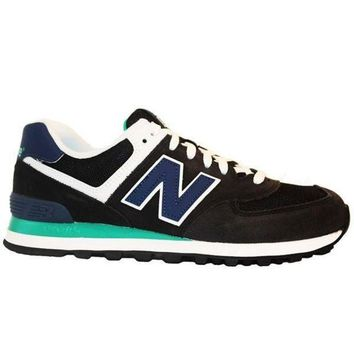 LMFON new balance 574 core plus black blue suede running sneaker