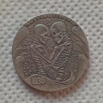 Hobo Nickel 1936 D BUFFALO NICKEL  HAND CARVED RARE