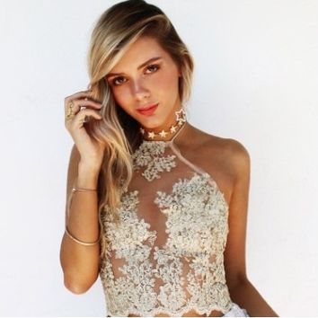 Embroidered Lace Halter Neck Camisole