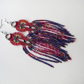 Long micro macrame earrings - Tassel Fringe Red Purple Iris Unique Beadwork Bohemian Boho