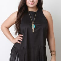 Sleeveless Suede Fringe Hem Top