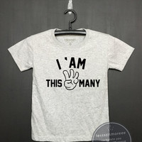 I am this many kids 3nd Birthday Shirt - Kids Birthday Shirt- Girl's birthday, Boy's birthday, Birthday tee - Funny Birthday, Flock printing