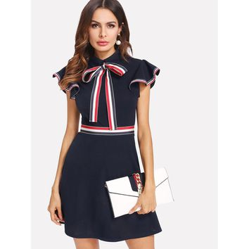 Tie Neck Striped Trim Flutter Sleeve Dress