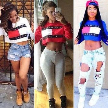 Fashion killa Trillfiger  inspired sweater crop top hoodie sweatshirt