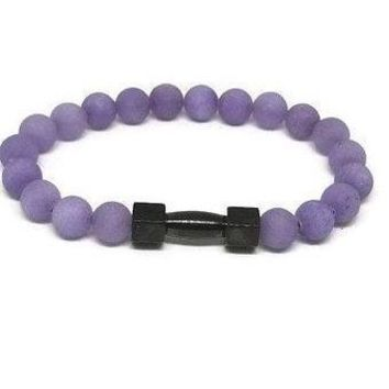 Purple Jade Stainless Steel Dumbbell Bracelet