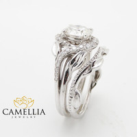 1.50CT Diamond Engagement Ring Unique Diamond Bridal Set 14K White Gold Nature Inspired Engagement Rings