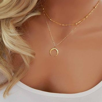 TOMTOSH 2017 New Fashion Double Horn Necklace Crescent Moon Necklace Boho Jewelry Minimal Girlfriend Gift