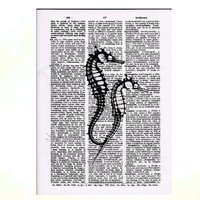 Vintage Dictionary Paper -Seahorses Dictionary Art Print