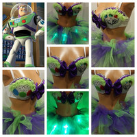 Buzz Light Year Rave Bra and Bottoms, Rave Outfit, Outfit for EDC