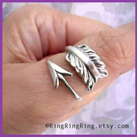 925 Solid Sterling Silver ring. Cupid's arrow ring, For men & women. Size adjustable, Promise ring