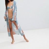 ASOS DESIGN Tall Premium Bird Print Robe at asos.com