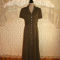 Vintage Brown Print Dress 90s Maxi Dress Short Sleeve Day Dress Button Up Dress Tea Dress Fall Dress Size 10 Dress Medium Womens Clothing