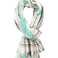 Lightweight Plaid Wrap Scarf by Charlotte Russe - Gray Combo