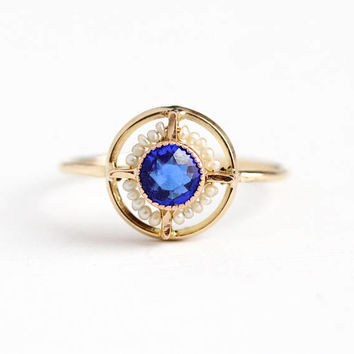 Vintage 10k Rosy Yellow Gold Blue Glass Stone Seed Pearl Halo Stick Pin Conversion Ring - Art Deco Size 6 Simulated Sapphire Fine Jewelry